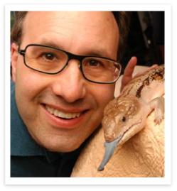 Photo of Steve with a lizzard